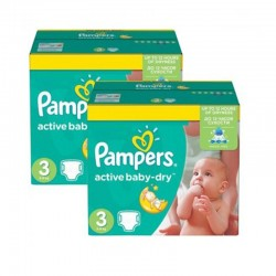 Pampers - Pack jumeaux 884 Couches Active Baby Dry taille 3 sur Couches Poupon