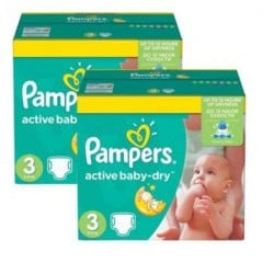 Pampers - Pack jumeaux 952 Couches Active Baby Dry taille 3 sur Couches Poupon