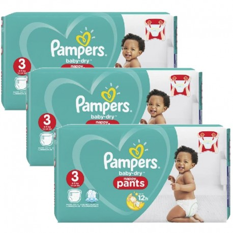 Pampers - Pack 52 Couches Baby Dry Pants taille 3 sur Couches Poupon