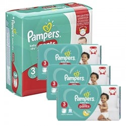 Pampers - Mega pack 182 Couches Baby Dry Pants taille 3 sur Couches Poupon