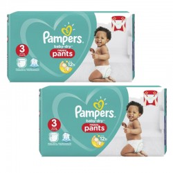 Pampers - Giga pack 208 Couches Baby Dry Pants taille 3 sur Couches Poupon
