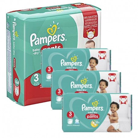 Pampers - Maxi giga pack 312 Couches Baby Dry Pants taille 3 sur Couches Poupon