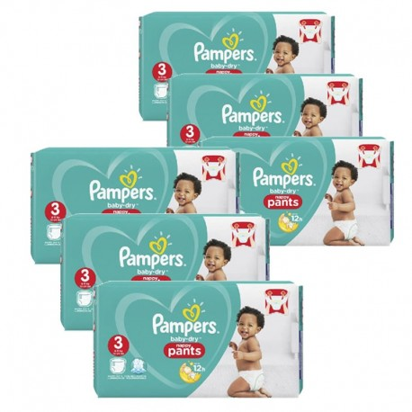 Pampers - Maxi giga pack 364 Couches Baby Dry Pants taille 3 sur Couches Poupon