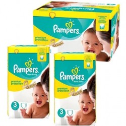 Pampers - Giga pack 210 Couches New Baby Premium Protection taille 3 sur Couches Poupon