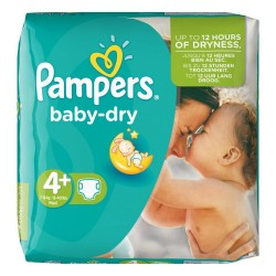Pampers - Pack 80 Couches Baby Dry taille 4+ sur Couches Poupon