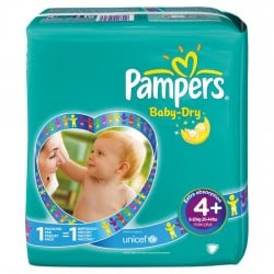 Pampers - Mega pack 160 Couches Baby Dry taille 4+ sur Couches Poupon