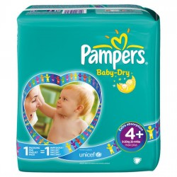 Pampers - Maxi mega pack 480 Couches Baby Dry taille 4+ sur Couches Poupon