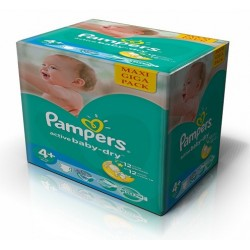 Pampers - Pack jumeaux 560 Couches Baby Dry taille 4+ sur Couches Poupon