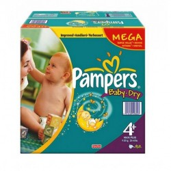 Pampers - Pack jumeaux 720 Couches Baby Dry taille 4+ sur Couches Poupon