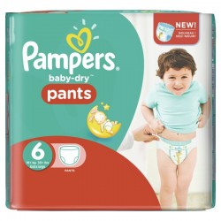 Pampers - Pack 28 Couches Baby Dry Pants taille 6 sur Couches Poupon
