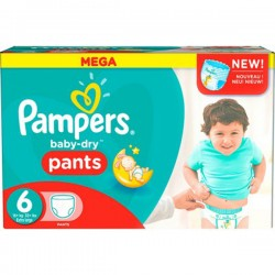 Pampers - Pack 56 Couches Baby Dry Pants taille 6 sur Couches Poupon
