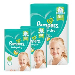 Pampers - Mega pack 140 Couches Baby Dry taille 8 sur Couches Poupon
