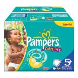 Pampers - Giga pack 204 Couches Baby Dry taille 5+ sur Couches Poupon