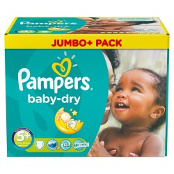 Pampers - Mega pack 136 Couches Baby Dry taille 5+ sur Couches Poupon