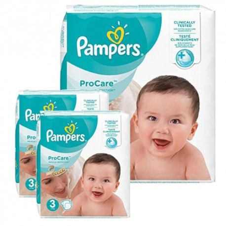 Pampers - Pack 64 Couches ProCare Premium protection taille 3 sur Couches Poupon