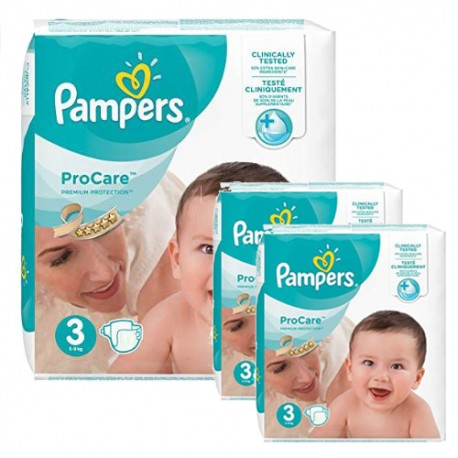 Pampers - Maxi mega pack 480 Couches ProCare Premium protection taille 3 sur Couches Poupon