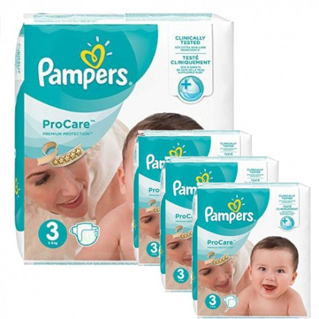 Pampers - Pack jumeaux 512 Couches ProCare Premium protection taille 3 sur Couches Poupon