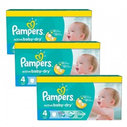 Pampers - Pack 91 Couches Active Baby Dry taille 4 sur Couches Poupon