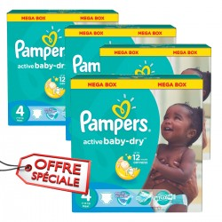Pampers - 104 Couches Active Baby Dry taille 4 sur Couches Poupon