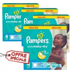 Pampers - Mega pack 104 Couches Active Baby Dry taille 4 sur Couches Poupon