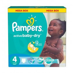 Pampers - 195 Couches Active Baby Dry taille 4 sur Couches Poupon