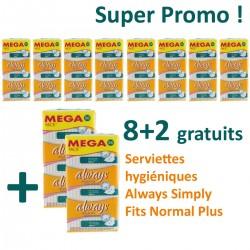 Simply Fits - 360 Serviettes hygiéniques d'Always - 10 Packs de 36 Serviettes hygiéniques taille normal plus sur Couches Poupon