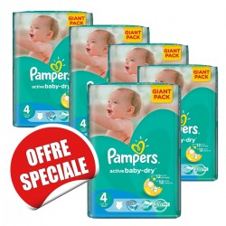 Pampers - 455 Couches Active Baby Dry taille 4 sur Couches Poupon