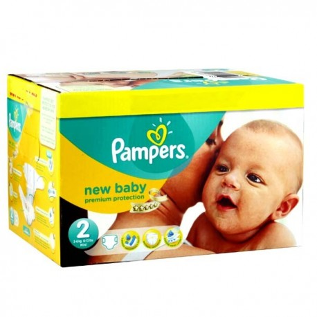 Pampers - Mega pack 164 Couches New Baby Premium Protection taille 2 sur Couches Poupon
