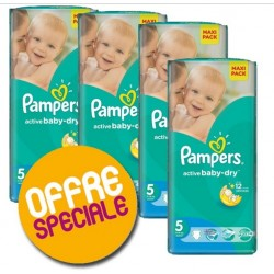 Pampers - 220 Couches Active Baby Dry taille 5 sur Couches Poupon