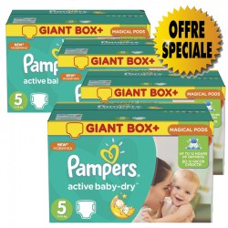 Pampers - 253 Couches Active Baby Dry taille 5 sur Couches Poupon