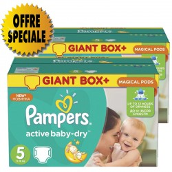 Pampers - 341 Couches Active Baby Dry taille 5 sur Couches Poupon