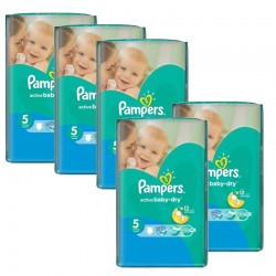 Pampers - 385 Couches Active Baby Dry taille 5 sur Couches Poupon