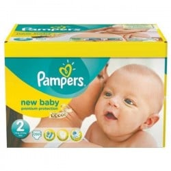 Pampers - Pack jumeaux 820 Couches New Baby Premium Protection taille 2 sur Couches Poupon