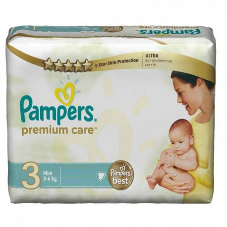 Pampers - Pack 40 Couches Premium Care taille 3 sur Couches Poupon