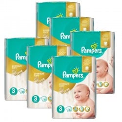 Pampers - Maxi giga pack 320 Couches Premium Care taille 3 sur Couches Poupon