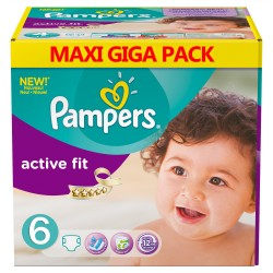 Pampers - Mega pack 128 Couches Active Fit taille 6 sur Couches Poupon