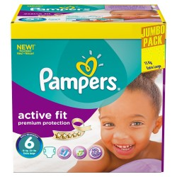 Pampers - Giga pack 256 Couches Active Fit taille 6 sur Couches Poupon