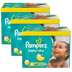 Pampers - Maxi giga pack 375 Couches Baby Dry taille 5+ sur Couches Poupon