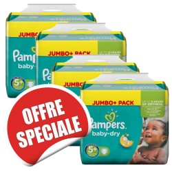 Pampers - Maxi mega pack 400 Couches Baby Dry taille 5+ sur Couches Poupon