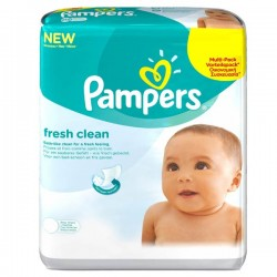 Fresh Clean - 384 Lingettes Bébés de Pampers - 6 Packs de 64 sur Couches Poupon