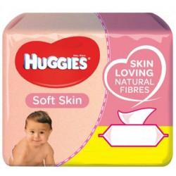 Huggies - Mega pack 168 Lingettes Bébés Soft Skin sur Couches Poupon