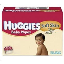 Huggies - Giga pack 224 Lingettes Bébés Soft Skin sur Couches Poupon