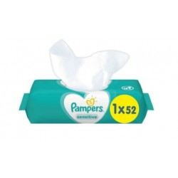Pampers - Pack 52 Lingettes Bébés Sensitive sur Couches Poupon