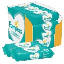 Pampers - Maxi giga pack 364 Lingettes Bébés Sensitive sur Couches Poupon