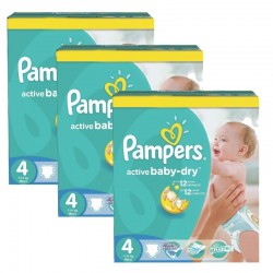 Pampers - Mega pack 196 Couches Active Baby Dry taille 4 sur Couches Poupon