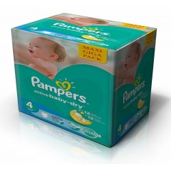 Pampers - Maxi giga pack 343 Couches Active Baby Dry taille 4 sur Couches Poupon