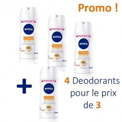 Stress Protect - 4 Deodorants Nivea - 4 au prix de 3 taille Pocket sur Couches Poupon