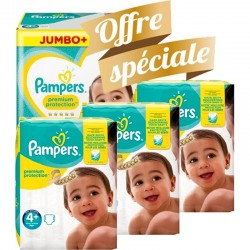 Pampers - Giga pack 210 Couches New Baby Premium Protection taille 4+ sur Couches Poupon