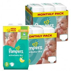 Pampers - Maxi mega pack 406 Couches Active Baby Dry taille 3