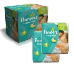 Pampers - Maxi mega pack 414 Couches Baby Dry taille 4 sur Couches Poupon